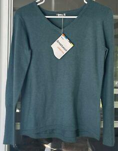 NEW Smartwool Shadow Pine V-neck Sweater Mediterranean Green S Merino Wool