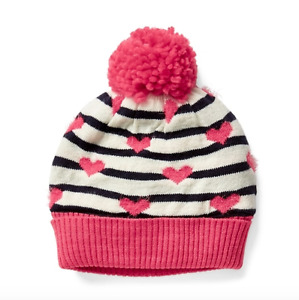 BABY GAP GIRL HAT Pom-pom heart and stripes beanie medium/large n5