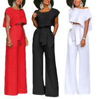 Fashion Women Jumpsuit Romper Long High Waist Wide Leg Pants Summer Playsuit New
