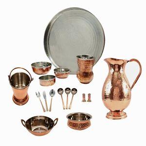 Steel Copper Traditional Dinner Thali Set Hotel Restaurant Dinnerware DiwaliGift