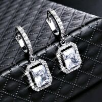 18K White Gold Filled Lab-Created Diamond Radiant Cut Sparking Huggie Earrings