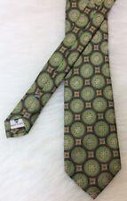 "Peter Millar Green Blue Brown Gold Hand Folded Silk Tie 63"" Long"