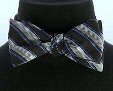 Umo Lorenzo Mens Self Loop Bow Tie Hanky Pocket Square Wedding Striped Set 2 New
