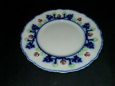 """HTF 1862-84 FLOW BLUE RED GROUND POLYCHROME 9"""" PLATE Adams & Co England CRACKED"""