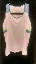 Lucky in Love Girl's Racerback Tennis Tank Top US Size L (14) White/Blue/Green