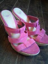UGG TAWNIE Pink Suede Designer Sandals Wedges Summer Beach Jute Rope Vacay 8.5 M