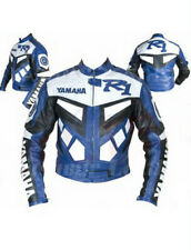 New Mens Blue White Motorcycle Racing Cowhide Leather Biker Jacket For Yamaha R1
