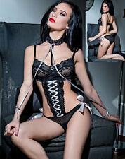 Black Lace Mesh Teddy with Removable Lace Choker  2248