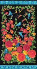 "Arcadia - Bluebirds & Ranunculus - Black/Gold by Chong-A Hwang - 24"" x 44"" PANEL"