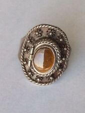 Vintage Taxco  Mexico Sterlig Silver Tiger Eye Poison Ring