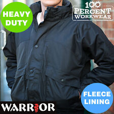 Heavy Duty Rip Stop Bomber Jacket Work Coat Fleece Lined Pro Trade Drivers Warm
