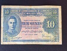 Malaya George VI Ten Cents Banknote 1941