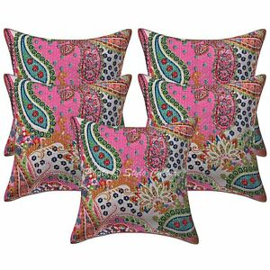 Indian Cotton Printed Throw Pillowcases Kantha Set Of 5 Paisley Cushion Covers