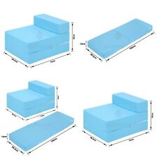 Cotton Twill Z Bed Single FoldOut Chairbed Chair Foam Folding Guest Sofa SKYBLUE