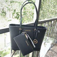 Michael Kors Women Small Leather Black Shoulder Tote Handbag Purse Bag + Wallet