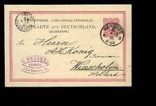 1886 Hamburg German postcard to Holland Netherlands