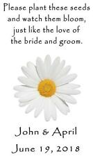 Wedding Favor Seed Packets Personalized White Daisy Custom Favors Set of 100
