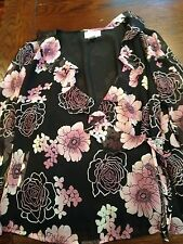 Worthington Sheer 100% Silk Floral Blouse Top Size Medium Style Fashion Vouge