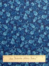 Light Dark Blue Leaf Vine Floral - Timeless Treasures Cotton Fabric YARDS