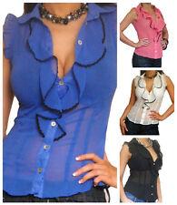 Chiffon Ruffle Patternless Blouses for Women