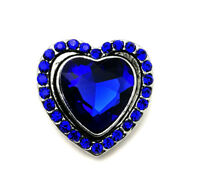 3D Crystal Heart Chunk Charm Snap Button Fit For Noosa Necklace/Bracelet  NSKZ8
