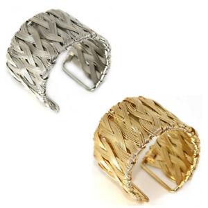 Handgefertigter massiver Armreif Armband aus geflochtenem Metall in Gold Silber