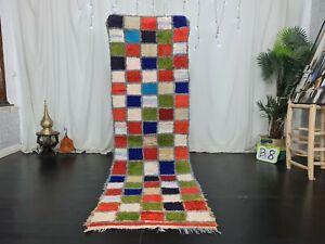 Vintage Moroccan Handmade Runner Rug 2.6x8.2Berber Colorful Checkered Cotton Rug