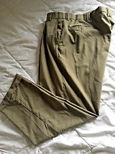 Men's 44 x 30 KHAKI Dress Pants Geoffrey Beene Pleated Slacks Wool Blend b28
