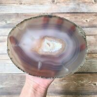 "Extra Large Natural Agate Slice: Approx 7.05"" Long, Crystal Stone Geode Mineral"