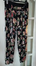 Black floral Harem pants/trousers with side pockets Size Small