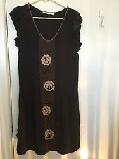 Shyde black and grey silk dress with beading in size 0