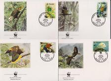 St Vincent 1989 World Wildlife Fund - Parrots - 4 First Day Covers FDC - (45)