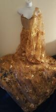 Exotic Gold Corset Embroidered Sequin Lace Indian Sari Saree Bridal Wedding Gown