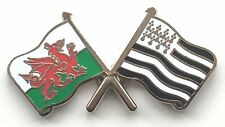 Wales & Brittany Flags Friendship Courtesy Enamel Lapel Pin Badge