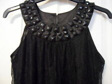 Evie Collection Size 8  Ladies Womens Girls Jet Black  Lace Dress Tunic Top