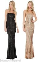 Goddess Long Sequin Bandeau Strapless Evening Maxi Gown Dress Prom Party Ball