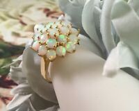 Vintage Jewellery Gold Ring with Opals Antique Art Deco Jewelry size 9 or S
