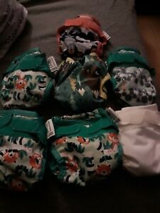 Close Pop in reusable nappies x 7 all with soakers + 3 soakers extra