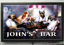 BAR SIGN - Large LED  lighted personalized POKER DOGS bar sign