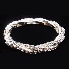 Lots 12Pcs 3Rows Screw Cross Stretchy Crystal Rhinestone Bracelets