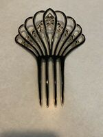 Lovely Antique Victorian Edwardian Carved Celluloid Fan Hair Comb Mantilla