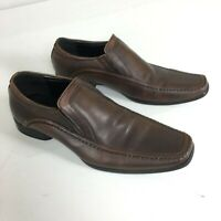 Kenneth Cole Keynote Brown Leather Slip On Loafers Sz 10 Dress Shoes