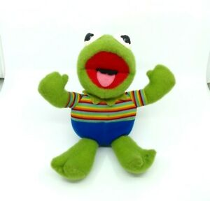 """Kermit The Frog Vintage Hasbro Softies Muppet Babies Plush Doll 13"""" Green Toy"""