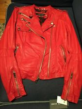 Wilsons Genuine Red leather biker Jacket size xs