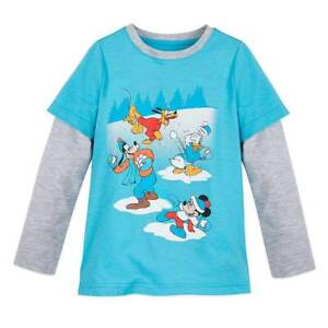 New Disney Store Mickey Mouse and Friends Long Sleeve Tee T-Shirt Boys Blue