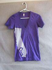 "S4360 American Apparel Women's XXS Purple V-Neck ""la clique"" Graphic T-Shirt"