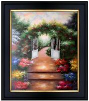 Framed Quality Hand Painted Oil Painting, Garden Stairway, 20x24in