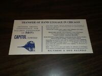 B&O BALTIMORE & OHIO CAPITOL LIMITED CHICAGO BAGGAGE TRANSFER SERVICE BROCHURE