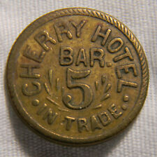 USA Cherry Hotel Bar 5 Cent Trade Token   (072)