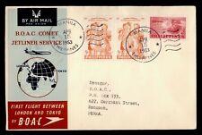 DR WHO 1953 PHILIPPINES FIRST FLIGHT BOAC MANILA TO RANGOON BURMA  f68662